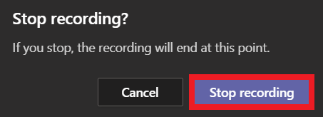 Confirm stop recording
