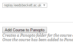 Add course to Panopto button