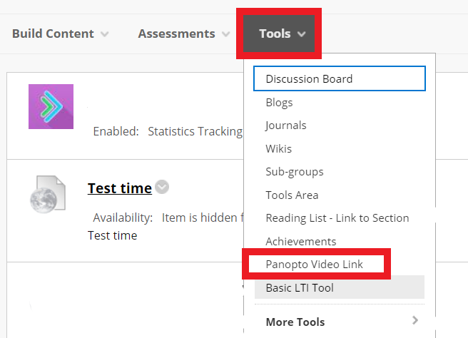 Tools tab to create a Panopto Video Link