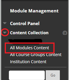 To Bulk Download go to Content Collection-All Modules Content image