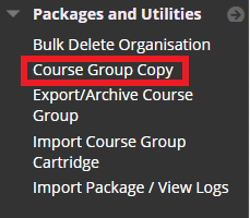 Copy Content from Course Group_Packages and Utilities list