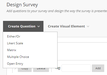 Create question menu