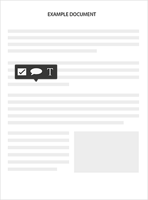 A document with a feedback bubble