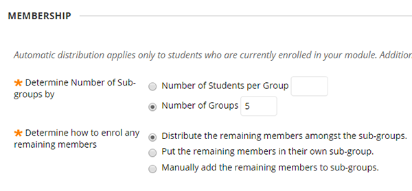 Random enrol options