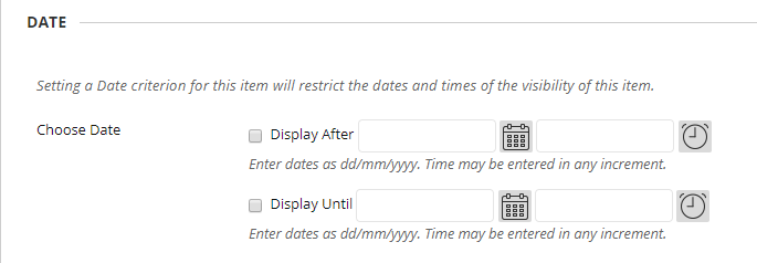 Example box to set Adaptive Release Dates