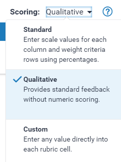 Select Qualitative rubric