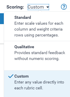 Select Custom rubric